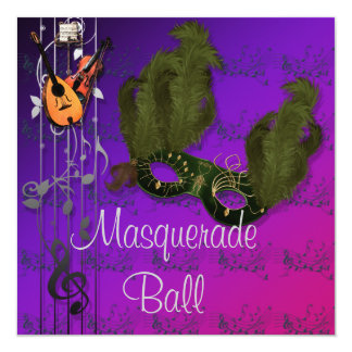 紫色の仮面舞踏会の招待状の緑のマスク カード