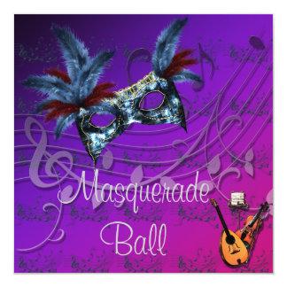 紫色の仮面舞踏会の招待状の青いマスク カード