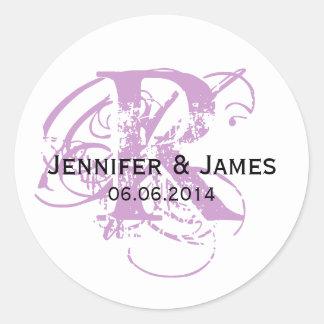 紫色の保存日付の結婚式の好意のステッカー ラウンドシール