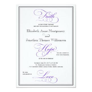 紫色の信頼の希望愛原稿の結婚式招待状 12.7 X 17.8 インビテーションカード