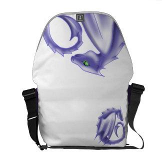 紫色の円のドラゴンのメッセンジャーバッグ メッセンジャーバッグ
