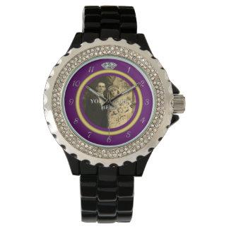 紫色の写真が付いているかわいらしいダイヤモンドの結婚指輪 腕時計