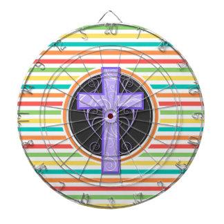 紫色の十字; 明るい虹は縞で飾ります ダーツボード