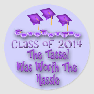 紫色の口論の円形のステッカーの価値を持つ2014年のふさ ラウンドシール