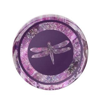 紫色の古さび: トンボ 磁器プレート