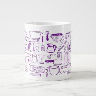 紫色の台所パターン専門のマグ ジャンボコーヒーマグカップ