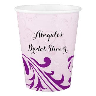 紫色の名前入りなブライダルシャワーのパーティの飲み物のコップ 紙コップ
