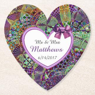 紫色の名前入りな結婚式のハートのコースター ペーパーコースター