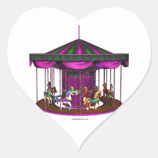 紫色の回転木馬のハート形のステッカー ハート形シールステッカー