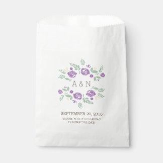 紫色の国の花のモノグラムの好意のバッグ フェイバーバッグ