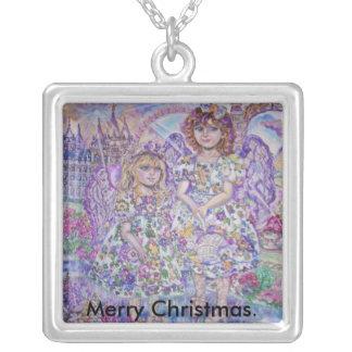 紫色の天使。、メリークリスマス シルバープレートネックレス