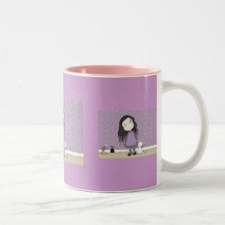 紫色の女の子 ツートーンマグカップ