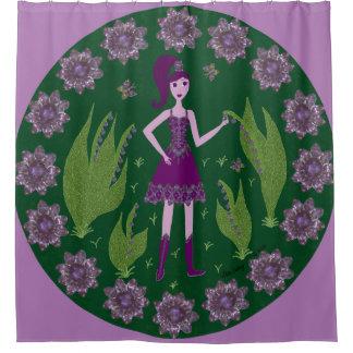 紫色の妖精の国 シャワーカーテン