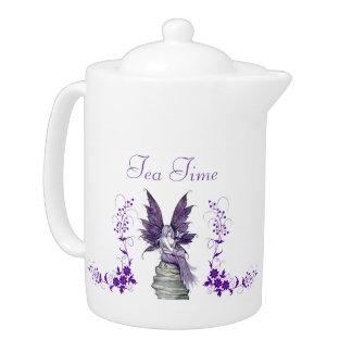 紫色の妖精の茶時間ティーポット