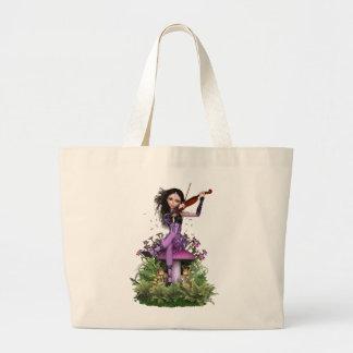 紫色の妖精の~の菓子のメロディー ラージトートバッグ