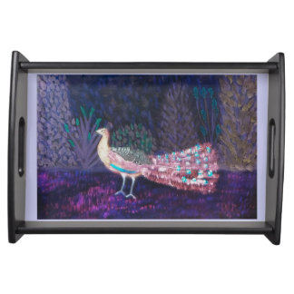 紫色の孔雀の庭の芸術 トレー
