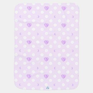 紫色の宝石および水玉模様 ベビー ブランケット