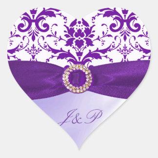 紫色の封筒のステッカー ハートシール