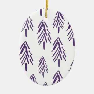 紫色の常緑の木 セラミックオーナメント