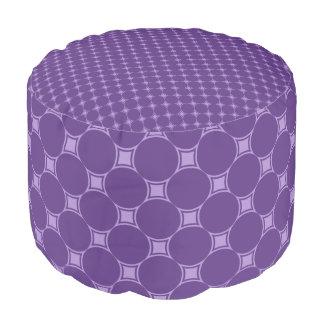 紫色の幾何学的な正方形、円パターン プーフ