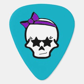 紫色の弓が付いているガーリーで非現実的なスカル ギターピック