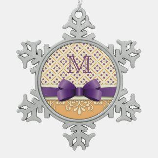紫色の弓はす黄色の華麗さのオレンジのダイヤモンド スノーフレークピューターオーナメント