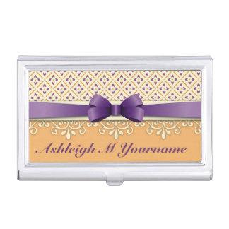 紫色の弓はす黄色の華麗さのオレンジのダイヤモンド 名刺入れ