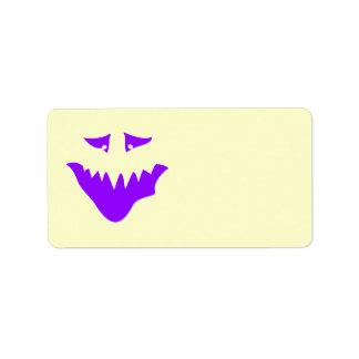 紫色の恐い顔。 モンスター ラベル