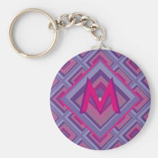 紫色の情熱のラベンダーはダイヤモンドパターン芸術の守備につきます キーホルダー