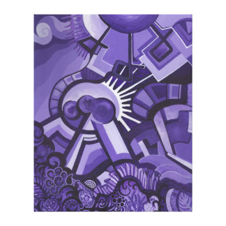 紫色の惑星の絵画 キャンバスプリント
