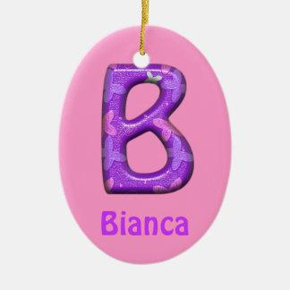紫色の手紙Bのオーナメントw Butterflies~Customの名前 セラミックオーナメント