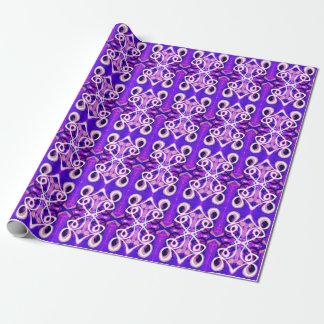 紫色の抽象的な包装紙|の白のループ渦巻 ラッピングペーパー