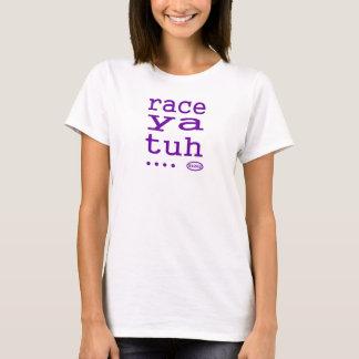 紫色の文字: 競争のyaのtuh (競争) tシャツ