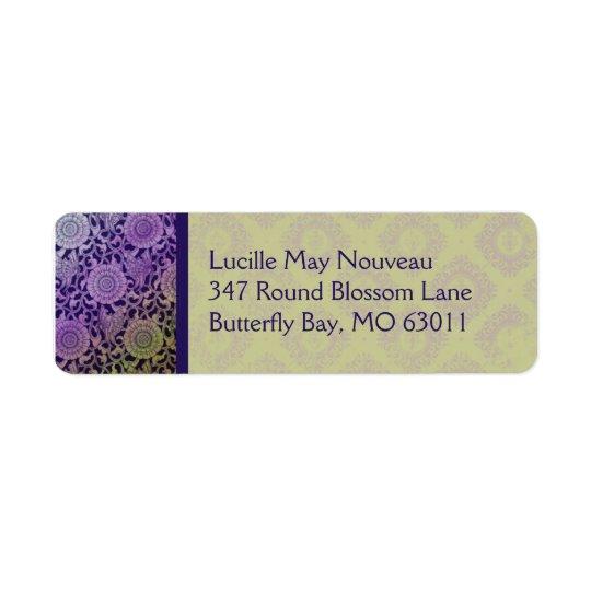 紫色の新しいの蝶及びオリーブ 返信用宛名ラベル
