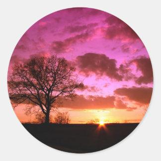 紫色の日没 ラウンドシール