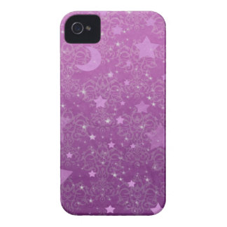 紫色の星および月 Case-Mate iPhone 4 ケース