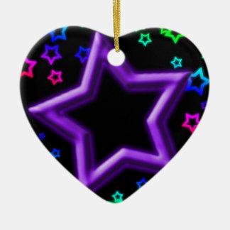 紫色の星こんにちはライト セラミックオーナメント