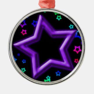 紫色の星こんにちはライト メタルオーナメント