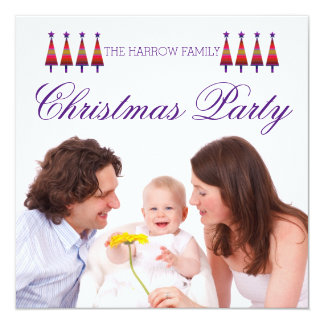 紫色の星の木家族のクリスマスのパーティの招待状 カード