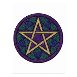 紫色の星形五角形Triquetra ポストカード
