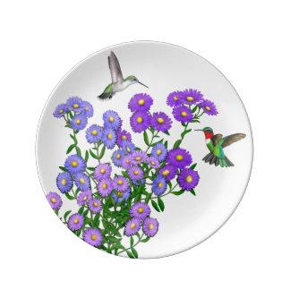 """紫色の星状体のハチドリ8.5""""磁器皿 磁器プレート"""