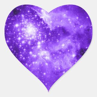 紫色の星 ハート形シールステッカー