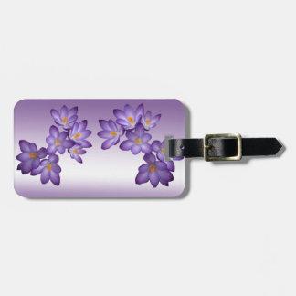 紫色の春の花柄 ラゲッジタグ
