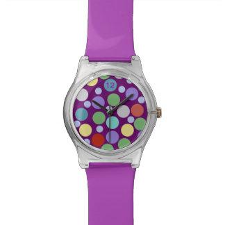紫色の時間の~の水玉模様 腕時計