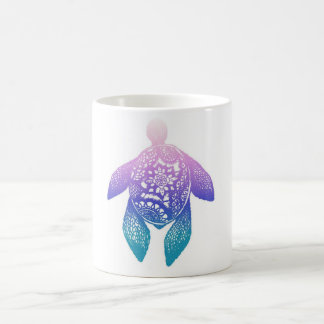 紫色の曼荼羅のカメ コーヒーマグカップ