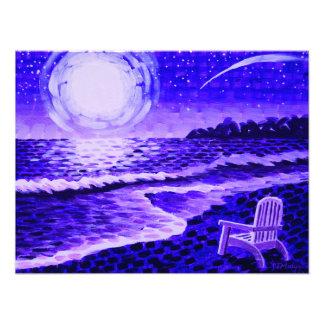 紫色の月のビーチ フォトプリント