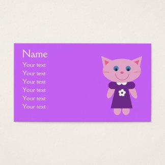 紫色の服のカスタムの薄紫のかわいい漫画猫 名刺