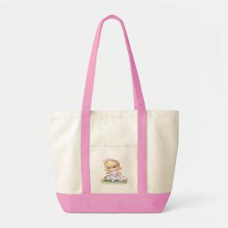 紫色の服の小さな女の子 トートバッグ