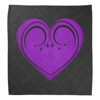 紫色の木の素朴でグランジなハート バンダナ