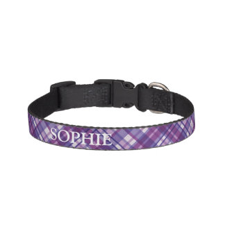 紫色の格子縞の名前をカスタムするのドッグカラー ペット首輪